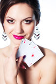 Girl portrait with playing cards — Stock Photo