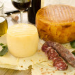 Stock Photo: Pecorino sardo and pork sausage