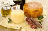 Pecorino sardo and pork sausage — Stock Photo