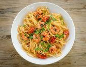 Spaghetti with shrimps — Stock Photo