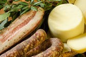 Sausage, lard and pecorino — Stock Photo