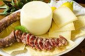 Sausage and Pecorino — Stock Photo