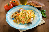 Spaghetti with crab and bottarga — Stock Photo