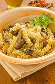 Fusilli with mushrooms, italian cuisine — Foto Stock