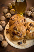 Bread with nuts and raisins — Stock Photo