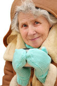 Portrait old woman with mug of hot tea — Stock Photo