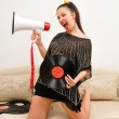 Nice music lover with gramophone record — Stock Photo #8884013