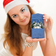 Pretty snow maiden with present — Stock Photo #8887033