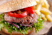 Hamburger with fries and salad — Stock Photo