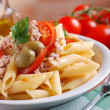 Pasta with tuna and olives — Stock Photo
