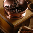 Coffee beans and grinder coffee - Stock Photo
