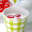Low-fat yogurt with cherries — Stock Photo