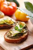 Crostini with zucchini — Stock Photo