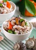 Barley salad with seafood — Stock Photo