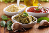Pesto and other sauces — Stock Photo