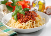 Tagliatelle with meat sauce — Stock Photo