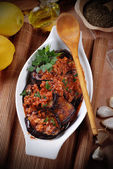Grilled eggplant with spices — Stock Photo