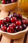 Pile of organic cherries — Stock Photo