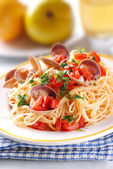 Spaghetti with clams — Stock Photo