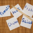 Set of post it notes with common phrases food — Stock Photo #10860562