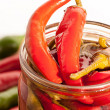 Preserved red hot chili peppers on white background - Stock Photo