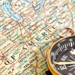 Stock Photo: Compass and map North America