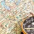 Compass and map North America — Stock Photo