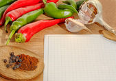 Vegetables and spices border and blank paper for recipes — Foto Stock