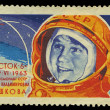 Stock Photo: USSR - CIRC1963: stamp printed in Russia, shows portrait of cosmonaut V.V. Tereshkova, series , circ1963