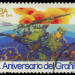 CUBA - CIRCA 1976: stamp printed in Cuba shows soldiers and boat, devoted to the 20 aniversario del granma, circa 1976 — Stock Photo