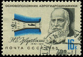 RUSSIA - CIRCA 1963: A stamp printed in USSR, show portrait founder of aerodynamics Zhukovskiy N.E., circa 1963 — Stock Photo