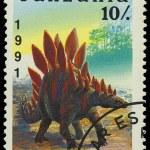 TANZANIA - CIRCA 1991: A stamp printed in Tanzania shows Stegosa — Stock Photo