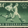 BULGARIA - CIRCA 1956: A stamp printed in Bulgaria showing football players, circa 1956 — Stock Photo