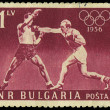 BULGARIA - CIRCA 1956: stamp printed in Bulgaria show boxers, about 1956 — Stock Photo