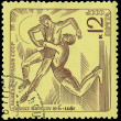 USSR - CIRC1971: stamp printed in USSR shows athletes, about — Stock Photo #21185797