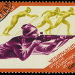 USSR - CIRC1984: stamp printed in USSR shows shooter and skier — Stock Photo #21185801