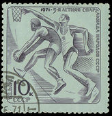 USSR - CIRCA 1971: stamp, the press in the USSR, shows the basketball players, about 1971 — 图库照片