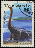 TANZANIA - CIRCA 1991: A stamp printed in Tanzania shows Diplodocus, circa 1991 — Stock Photo