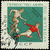 USSR - CIRCA 1966: A stamp printed in Ussr showing football players, circa 1966 — Foto de Stock
