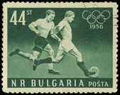 Bulgaristan - yaklaşık 1956: damga basılmış futbolcuların yaklaşık 1956 gösterilen Bulgaristan — Stok fotoğraf
