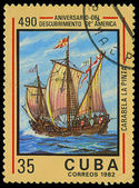 CUBA - CIRCA 1982: A stamp printed in Cuba shows ship La Pinta, devoted Discovery of America, circa 1982 — Stock Photo