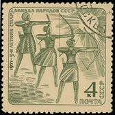 USSR - CIRCA 1971: stamp printed in USSR shows archers, about 1971 — Foto de Stock