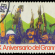 CUBA - CIRCA 1976: A Stamp shows Fidel Castro and Che Guevara , — Foto Stock