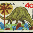 POLAND - CIRCA 1965: A stamp printed in Poland shows Brontosauru — Stock Photo