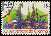 CUBA - CIRCA 1976: A Stamp shows Fidel Castro and Che Guevara , — Stock Photo