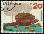 польша - около 1965: марку, напечатанную польши показывает edaphosauru — Стоковое фото