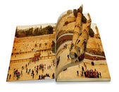 An opened old book with curl a picture Western Wall,Temple Mount, Jerusalem.Photo in old color image style. — Stock Photo