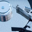 Hard disk detail with a blue hue — Stock Photo