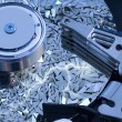 Stock Photo: Hard disk detail with surface splinters