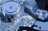 Hard disk detail with surface splinters — Stock Photo